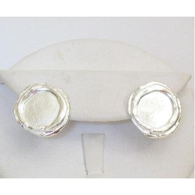 Susan Shaw Handcast Silver Clip Earrings - Round-Susan Shaw Jewelry-Blue Hand Home