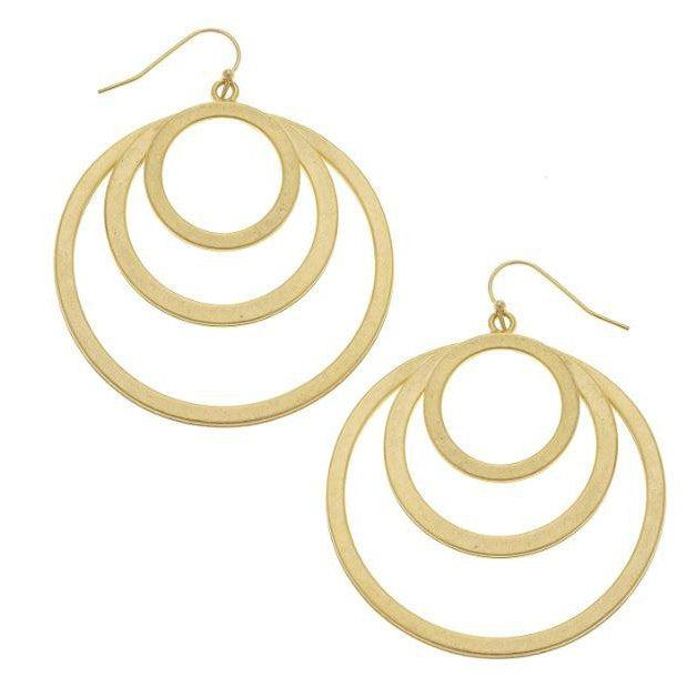Susan Shaw Handcast Gold Multi Circle Earrings