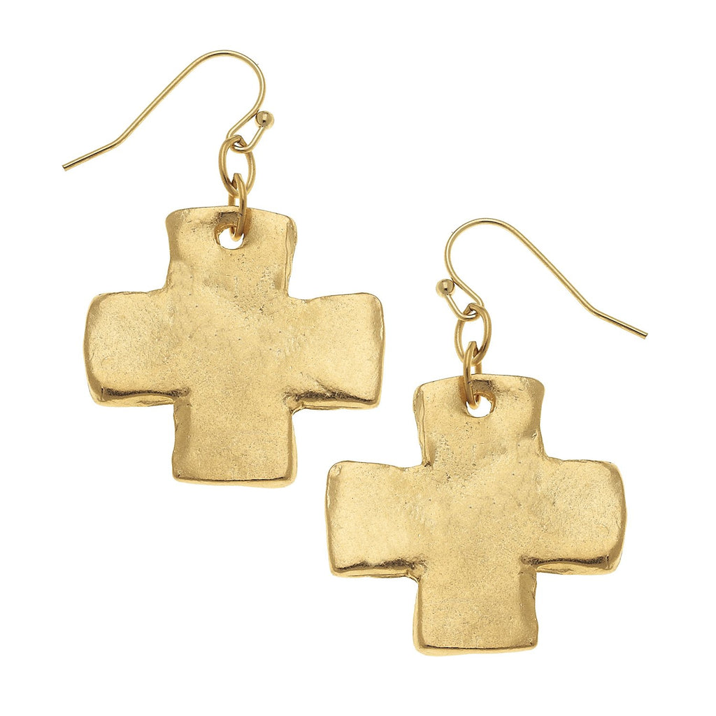 Susan Shaw Cross Wire Earrings - Gold-Susan Shaw Jewelry-Blue Hand Home