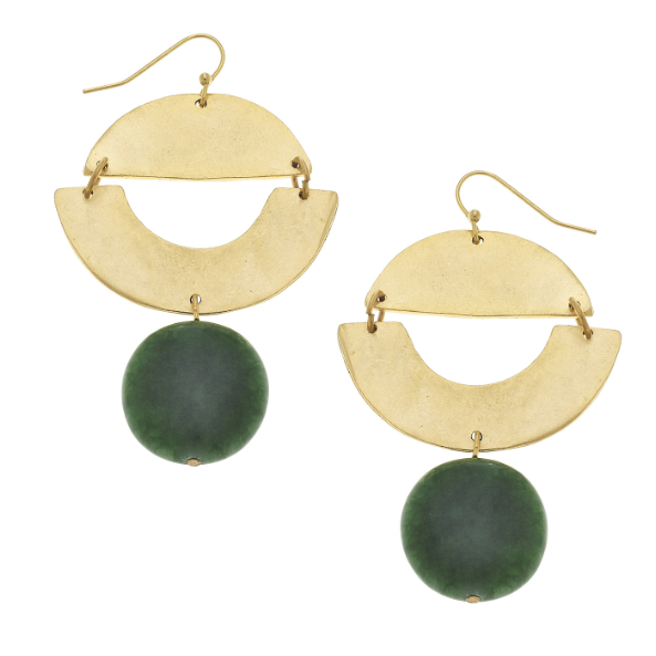 Susan Shaw Handcast Gold Geometric & Green Fossil Earrings