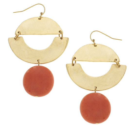 Susan Shaw Handcast Gold Geometric & Orange Fossil Earrings