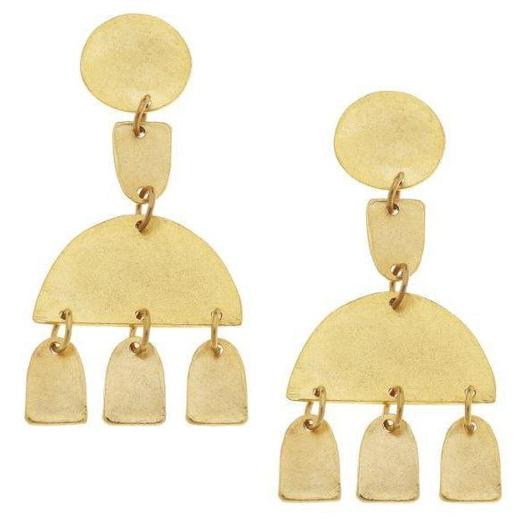 Susan Shaw Handcast Gold Plated Circle & 1/2 Round w/ Drop Earrings