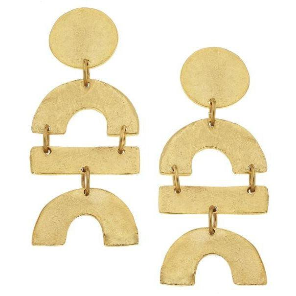 Susan Shaw Handcast Gold Circle, Curve & Bar Earrings-Susan Shaw Jewelry-Blue Hand Home