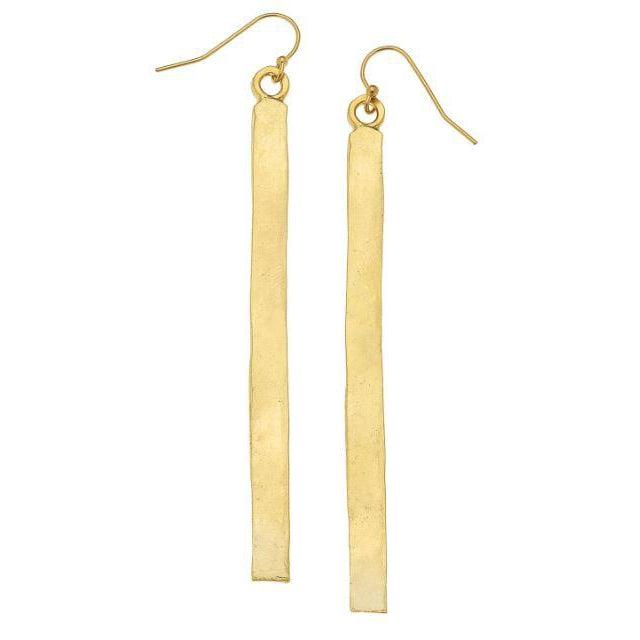 "Susan Shaw Handcast Gold 3"" Bar Earrings"