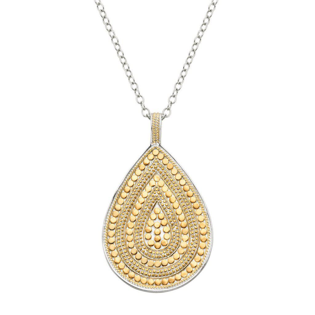 Anna Beck Long Beaded Double Sided Teardrop Necklace - Silver and Gold-Blue Hand Home