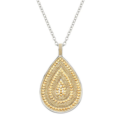 Anna Beck Long Beaded Double Sided Teardrop Necklace - Silver and Gold-Anna Beck Jewelry-Blue Hand Home