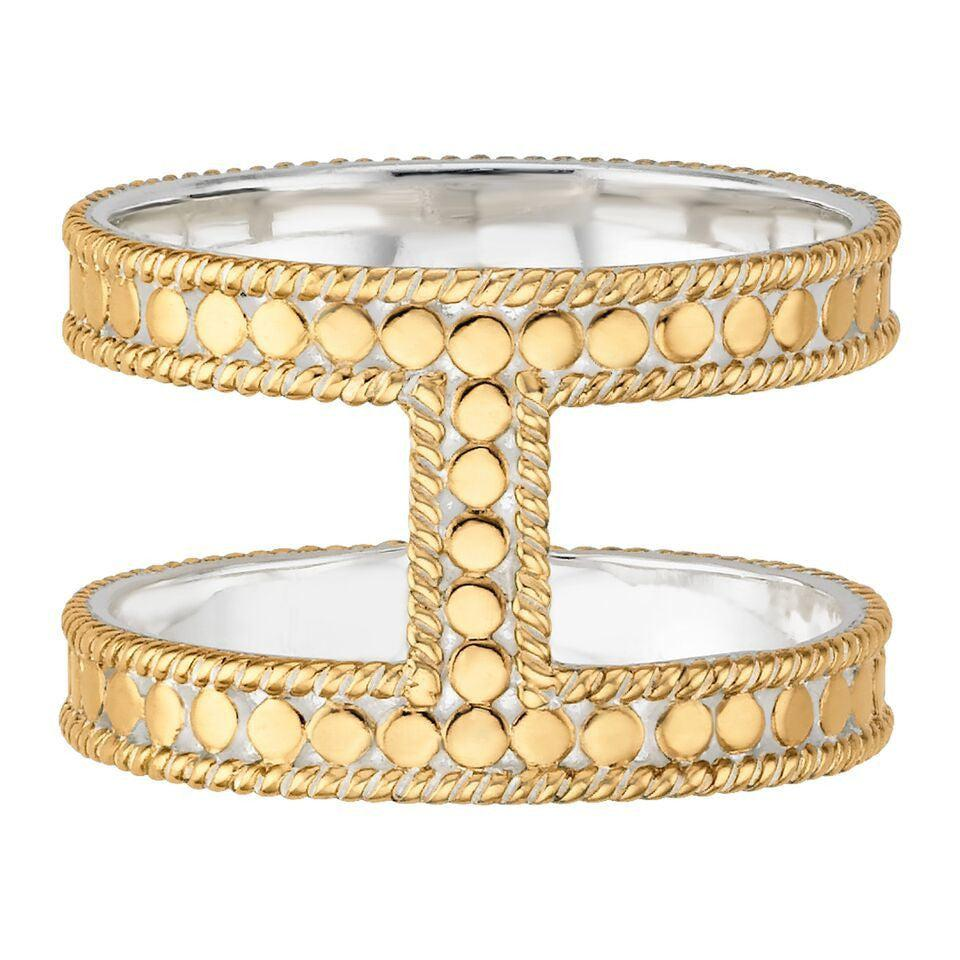 Anna Beck Gold Double Bar Ring-Blue Hand Home