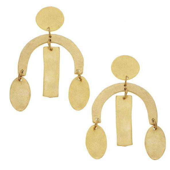 Susan Shaw Handcast Gold Plated Geometric Earrings-Susan Shaw Jewelry-Blue Hand Home