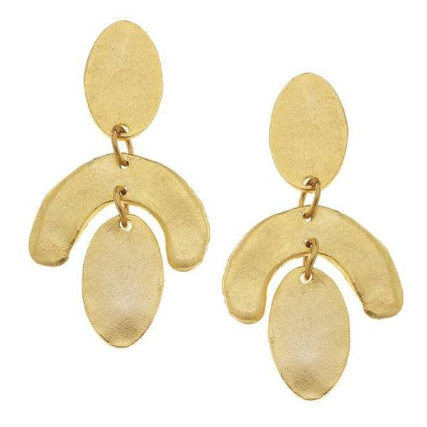Susan Shaw Handcast Gold Plated Ovals & Curve Earrings-Susan Shaw Jewelry-Blue Hand Home