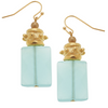 Susan Shaw Handcast Gold & Semi-Precious Aqua Quartz Earrings-Susan Shaw Jewelry-Blue Hand Home