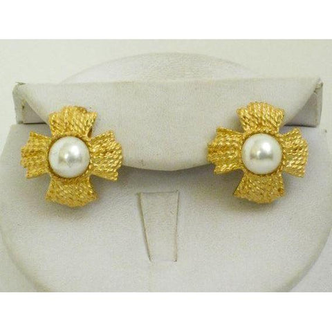 Susan Shaw Handcast Gold CLIP Earrings
