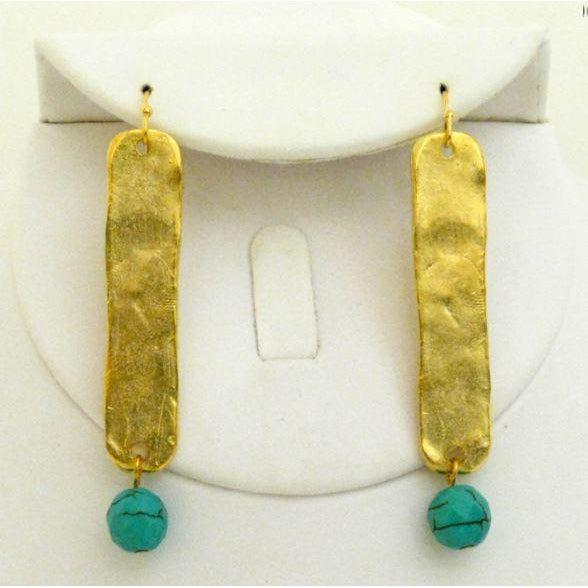 Susan Shaw Genuine Turquoise & Handcast Gold Bar Earrings-Susan Shaw Jewelry-Blue Hand Home