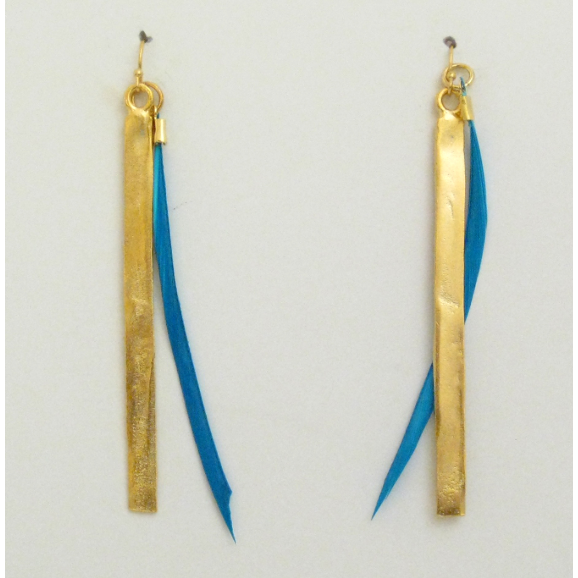 "Susan Shaw 3"" Handcast Gold Bar & Feather Earrings"