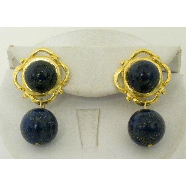 Susan Shaw Handcast Gold with Lapis CLIP Earrings-Susan Shaw Jewelry-Blue Hand Home