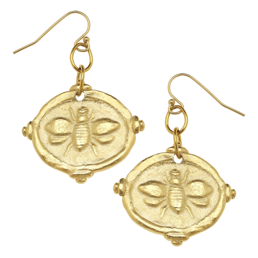 "Susan Shaw Handcast Gold ""Bee"" Intaglio Earrings"