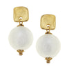 Susan Shaw Handcast Square & Genuine Cotton Pearl Earrings - Gold-Susan Shaw Jewelry-Blue Hand Home