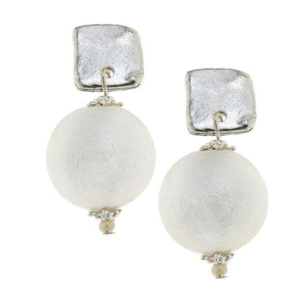Susan Shaw Handcast Square & Genuine Cotton Pearl Earrings