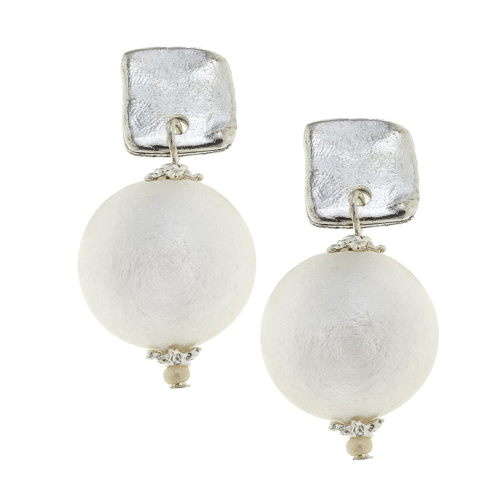 Susan Shaw Handcast Square & Genuine Cotton Pearl Earrings - Silver-Susan Shaw Jewelry-Blue Hand Home