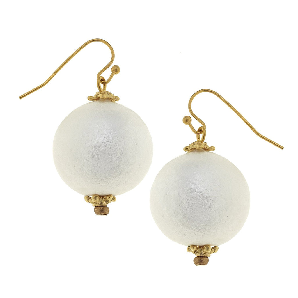 Susan Shaw Genuine Cotton Pearl Dangle Earrings - Gold-Susan Shaw Jewelry-Blue Hand Home