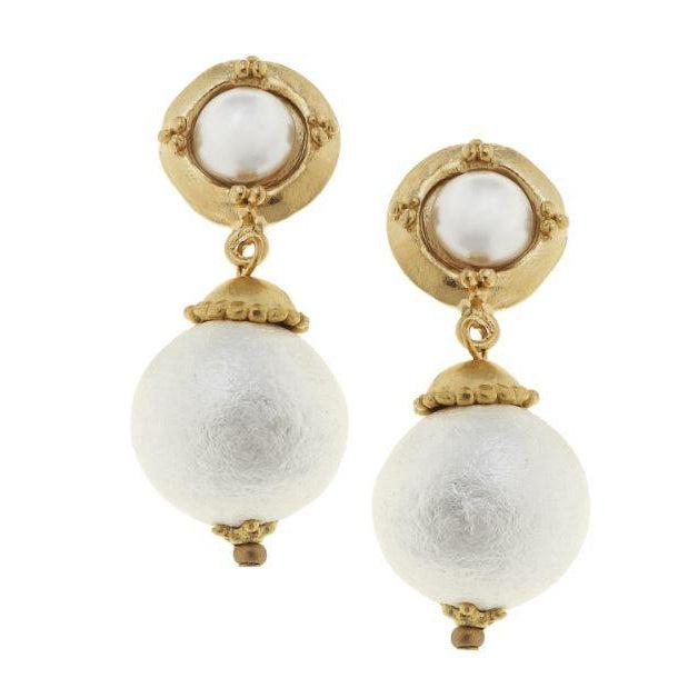 Susan Shaw Pearl Cab with Genuine Cotton Pearl Drop Earrings