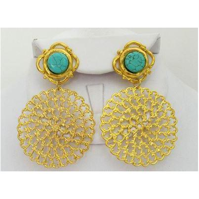 Susan Shaw Handcast Gold with Genuine Turquoise Pierced Earrings