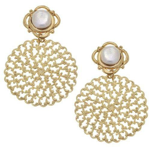 Susan Shaw Handcast Gold with Genuine Coin Pearl Pierced Earrings