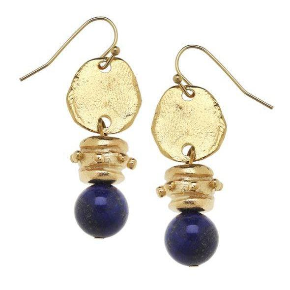 Susan Shaw Gold & Genuine Lapis Earrings