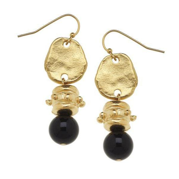 Susan Shaw Handcast Gold & Black Onyx Earrings-Susan Shaw Jewelry-Blue Hand Home