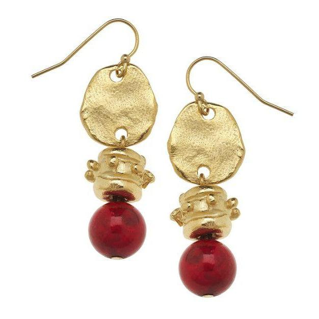 Susan Shaw Handcast Gold with Red Coral Earrings