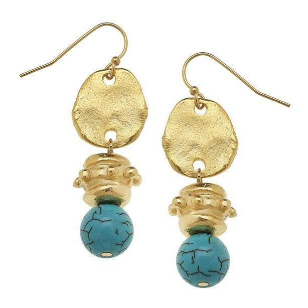 Susan Shaw Handcast Gold with Genuine Turquoise Earrings