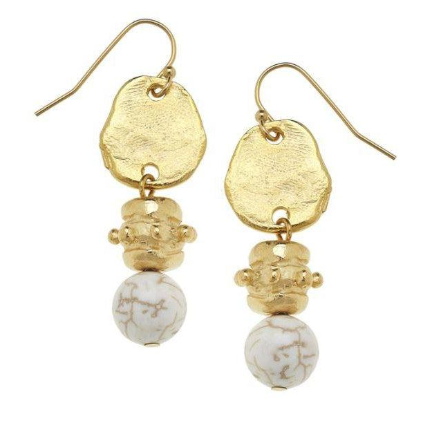 Susan Shaw Handcast Gold with White Turquoise Earrings-Susan Shaw Jewelry-Blue Hand Home