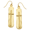 Susan Shaw Handcast Gold Bar with Cross Earrings-Susan Shaw Jewelry-Blue Hand Home