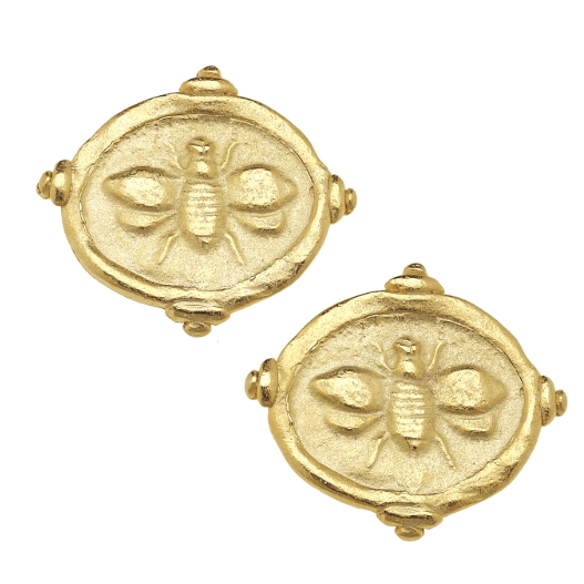 "Susan Shaw Handcast Gold ""Bee"" Intaglio Pierced Earrings-Susan Shaw Jewelry-Blue Hand Home"