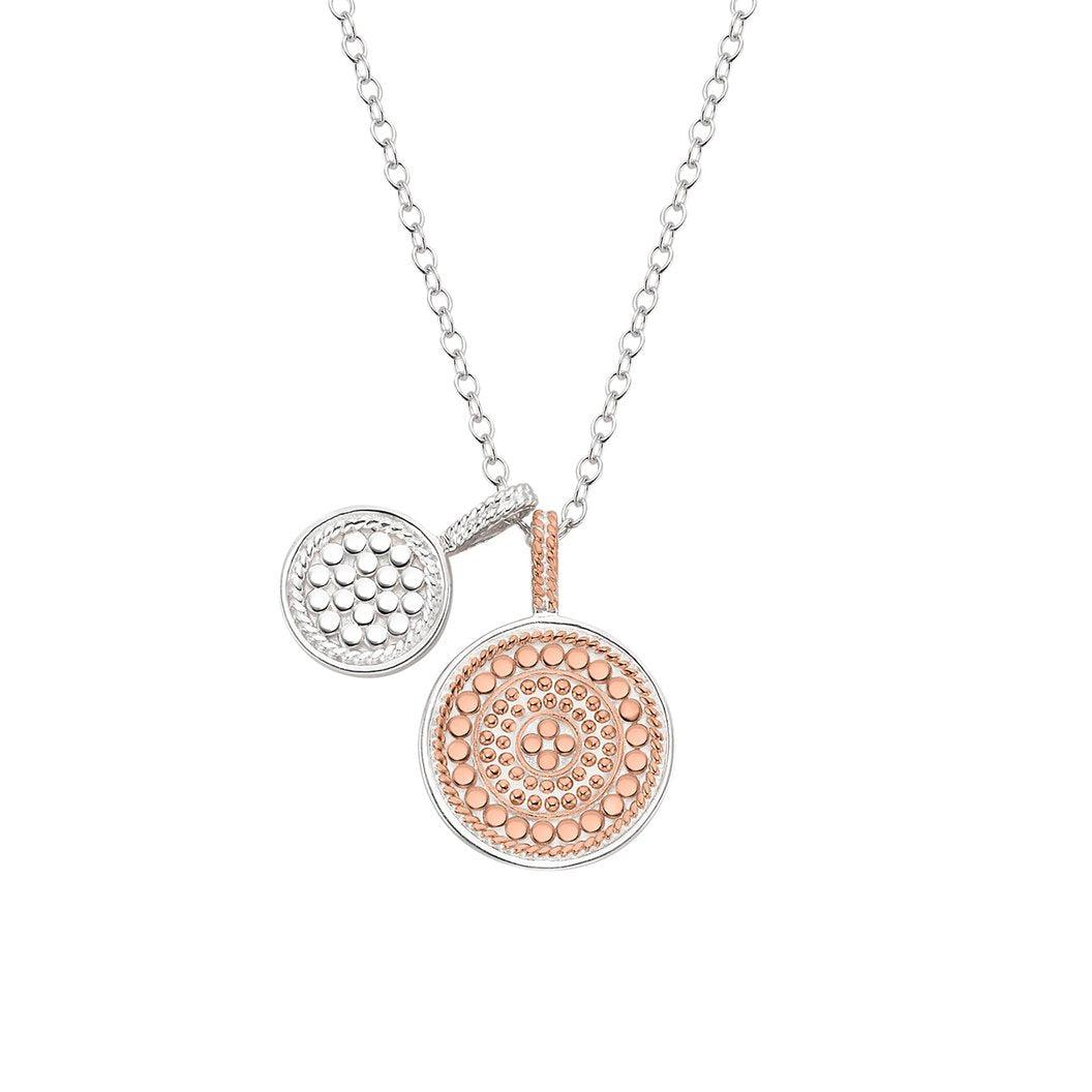 "Anna Beck Double Disc Charm Necklace 16-18"" Double Sided - Rose Gold and Silver"
