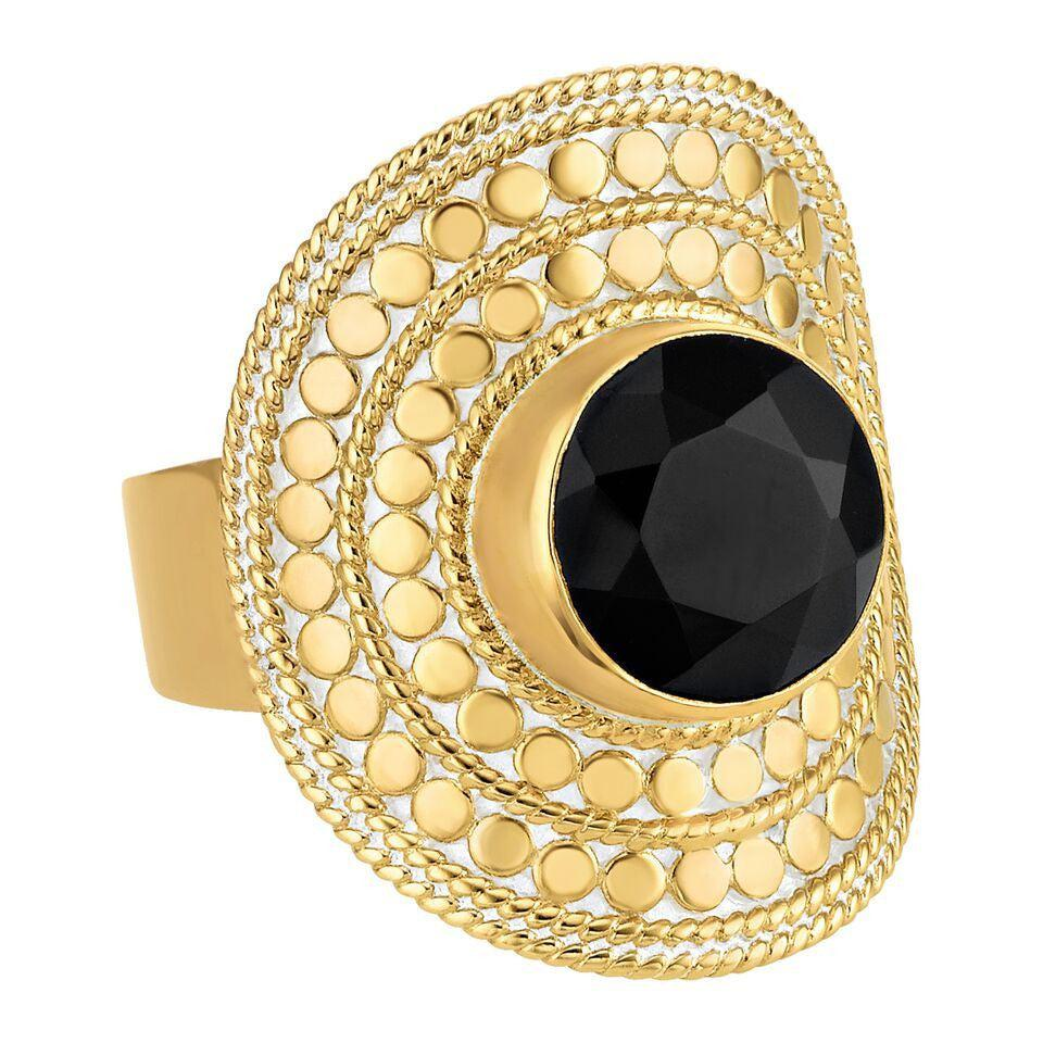 Anna Beck Black Onyx Shield Ring - Gold-Blue Hand Home