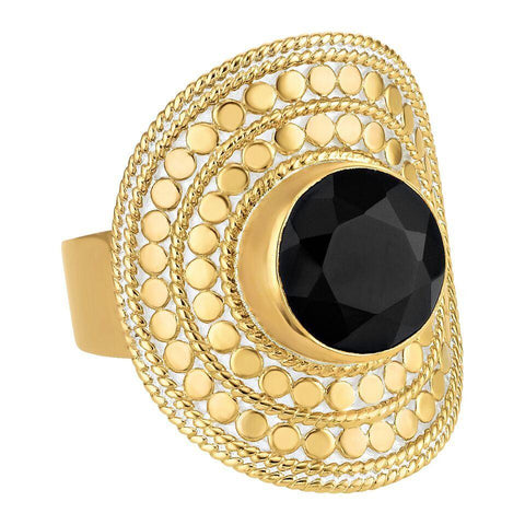 Anna Beck Black Onyx Shield Ring - Gold - Blue Hand Home