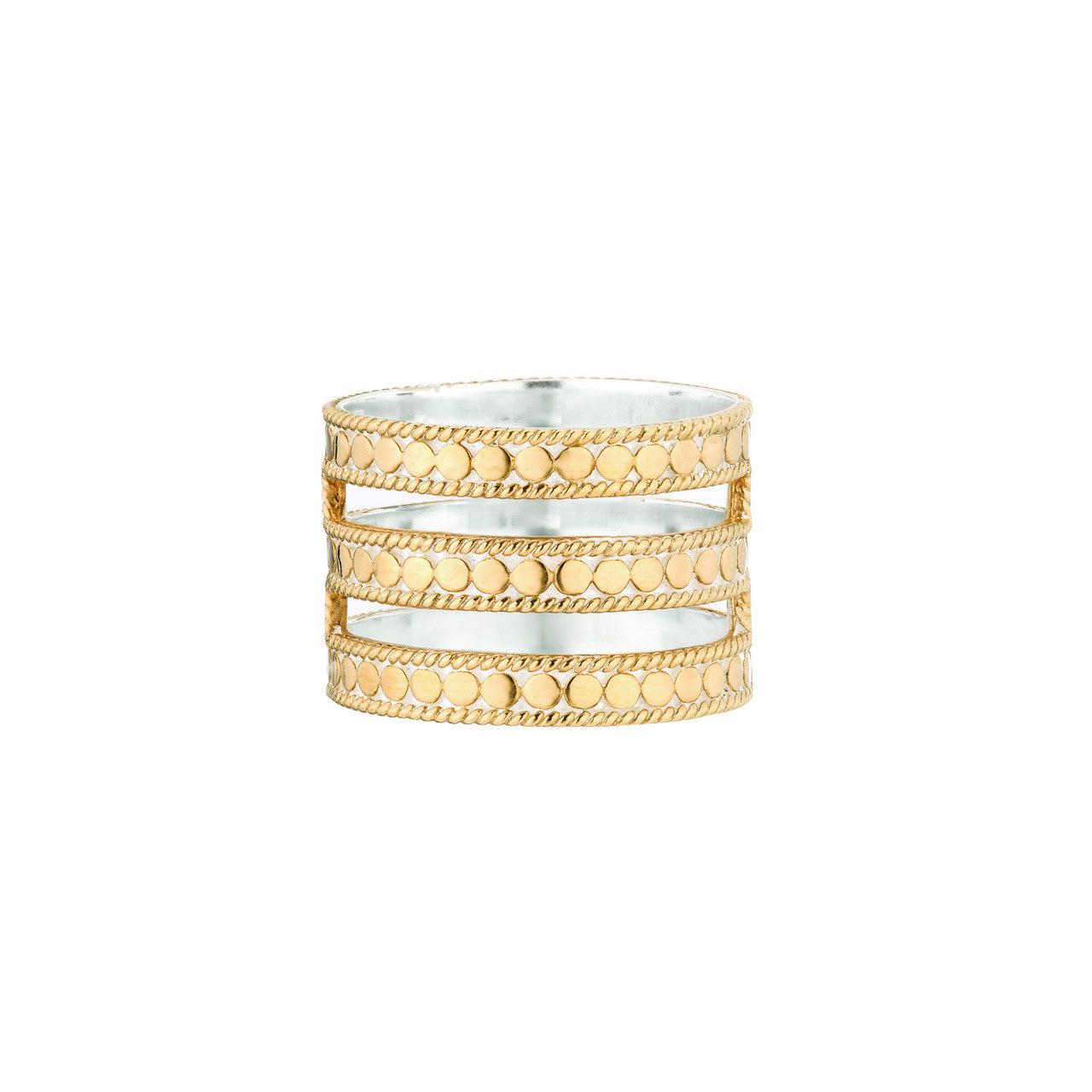 Anna Beck Triple Bar Ring - Gold