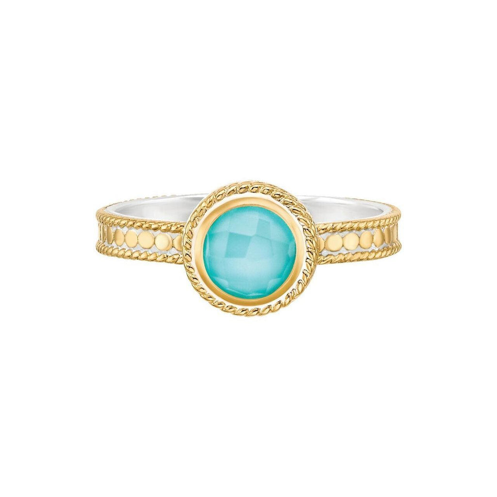 Anna Beck Abundance Turquoise Single Stone Ring - Gold-Blue Hand Home