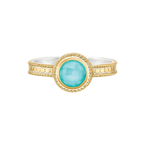 Anna Beck ABUNDANCE Stone Stack Ring - Gold Turquoise-Blue Hand Home