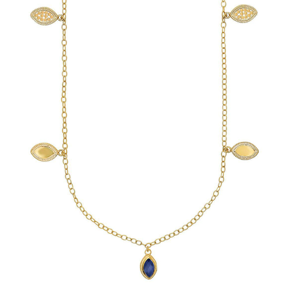 "Anna Beck Lapis Marquise Charm Station Necklace 36"" - Gold-Blue Hand Home"