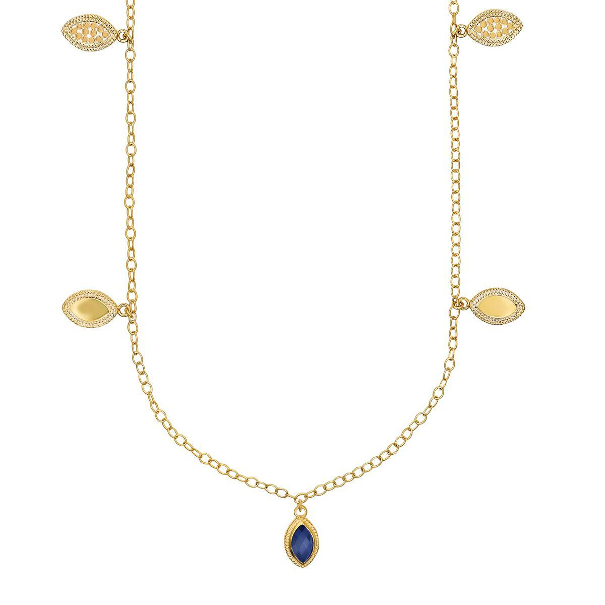"Anna Beck Lapis Marquise Charm Station Necklace 36"" - Gold"