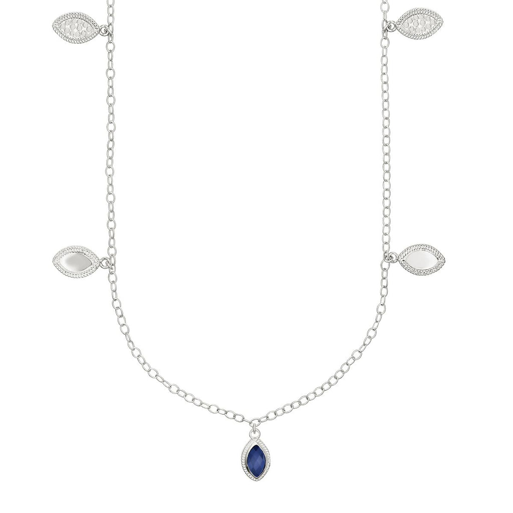 "Anna Beck Lapis Marquise Charm Station Necklace 36"" - Silver-Blue Hand Home"