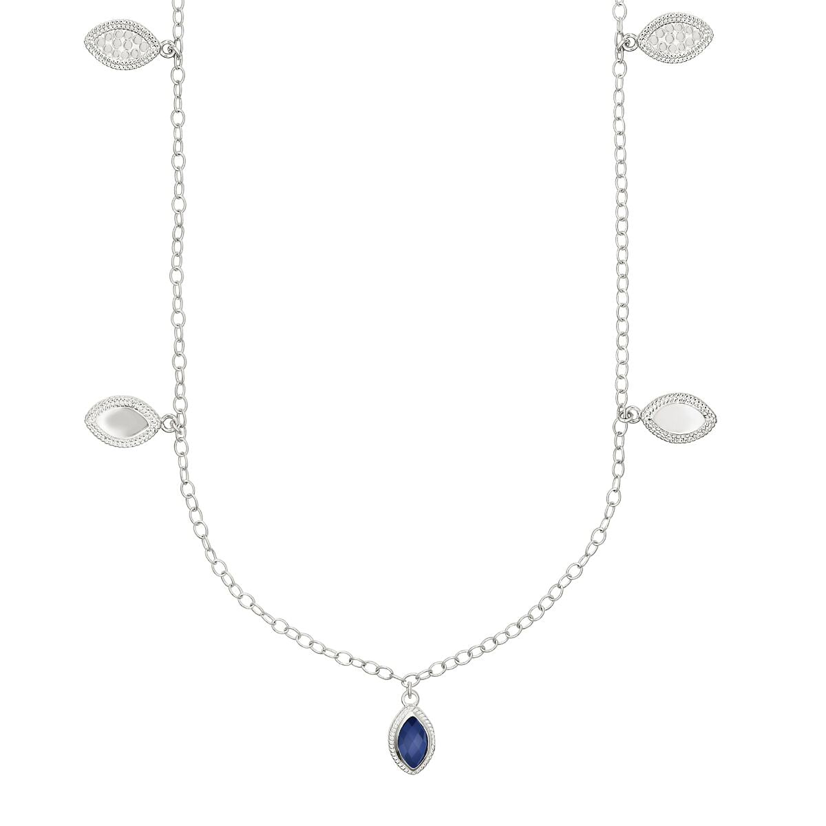 "Anna Beck Lapis Marquise Charm Station Necklace 36"" - Silver"