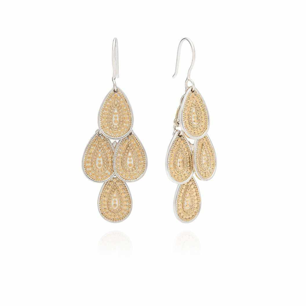 Anna Beck Divided Disc Chandelier Earrings - Gold