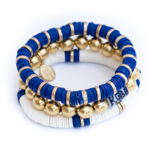S/3 Blue, White & Handcast Gold Plated Bead Stretch Bracelets