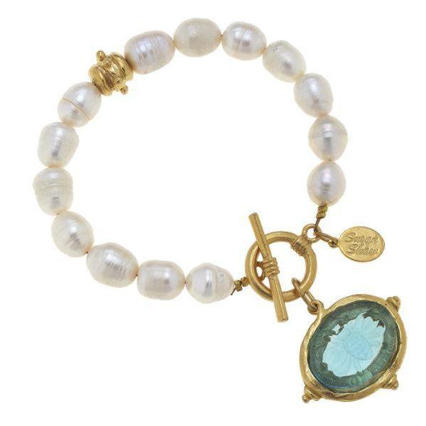 Susan Shaw Venetian Etched Glass Bee Intaglio on Genuine Freshwater Pearl Bracelet-Susan Shaw Jewelry-Blue Hand Home