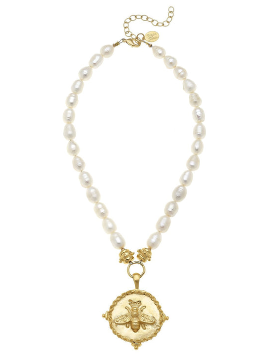 Susan Shaw Gold Bee Pendant on Genuine Freshwater Pearl Necklace