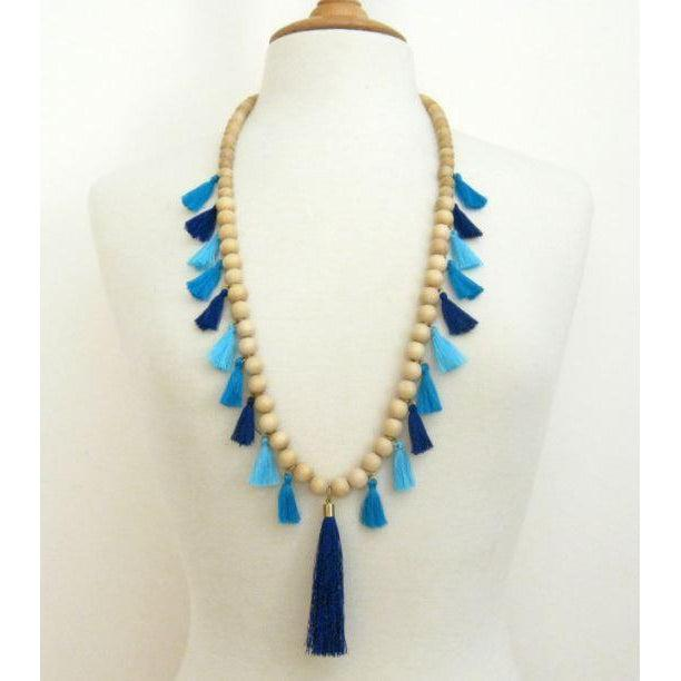 Susan Shaw Handcast Gold & Wood Blue Tassel Necklace-Susan Shaw Jewelry-Blue Hand Home