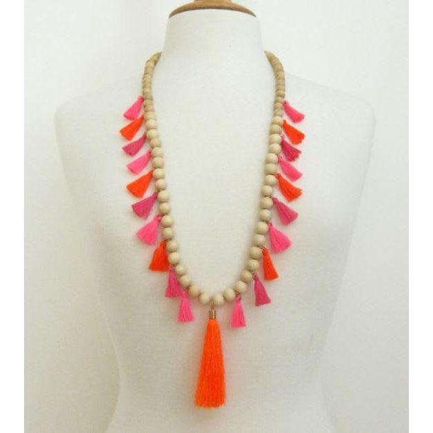 Susan Shaw Handcast Gold & Wood Pink/Orange Tassel Necklace