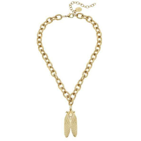 Susan Shaw Handcast Gold Cicada Chain Necklace-Susan Shaw Jewelry-Blue Hand Home